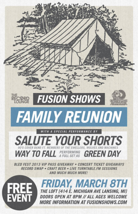 We're excited to announce a FREE event that we're calling the FUSION SHOWS FAMILY REUNION!  Why a family reunion? Well to us, the music community is our family. Music is what we live and breathe each and every day. So you are likely wondering what exactly this event is… Truth is, we don't even know. Our goal is to pack anyone who is involved in the Michigan music community together into the Loft for a fun night of music, discussion and new friendship. Whether you are an avid concert-goer, musician, sound guy, manager, booking agent, artist, record store, record label or you just like hanging out at the Loft, you are part of this community and we want your input!  We'll have a record swap (including a few pop-up stores from local record stores), concert ticket giveaways, an awesome 90's cover band, open Turntable.FM DJ sessions where you can play us some of your favorite music, free snacks & much more. Help support this FREE event by reblogging this post!  We'll see you March 8th! RSVP: https://www.facebook.com/events/355549374560769/