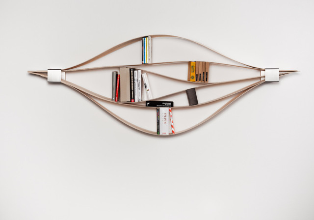 Chuck, A Bookshelf with Flexible Wooden Shelves  Via: laughingsquid