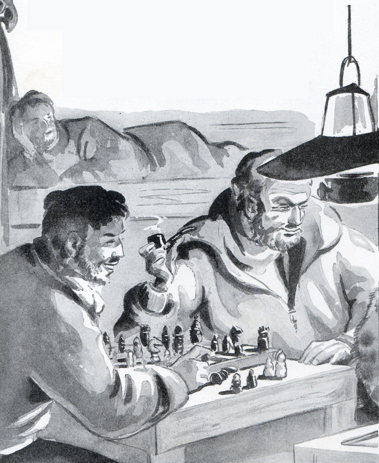 """To make chess more interesting they played while watching porn. """"Aah, the Pizza Boy Gambit, I never saw it coming.""""English - Grade 6  1948  (Original title English - Grade 2  1944) #Illustration#vintage illustration#childrens illustration#text book#chess#1940s#1940s#funny#humor"""