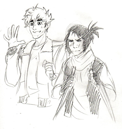 a crappy sketch of some original characters in a zombie apocalypse au!