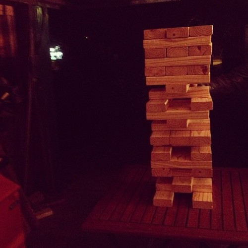 We're playing Texas Jenga tonight. And what are you doing?