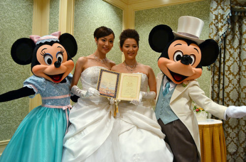 make-it-brain:  alloutorg: Tokyo Disney Resort just held its first same-sex wedding! The country doesn't have marriage equality quite yet, but these happy brides are a glowing example of what might be coming for LGBT couples in Japan.