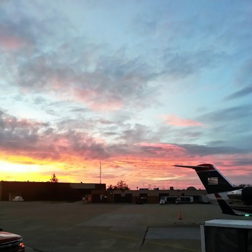 Like a watercolor painted sky. #sunrise on #usairways #cak #airport this morning