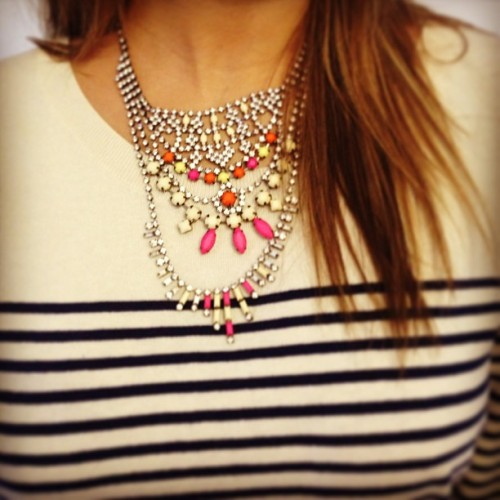 Loving Alexa's fun pairing of her tiered neon stone necklace and nautical sailor stripe top! Find our newest necklace on sendthetrend.com (at Send the Trend HQ)