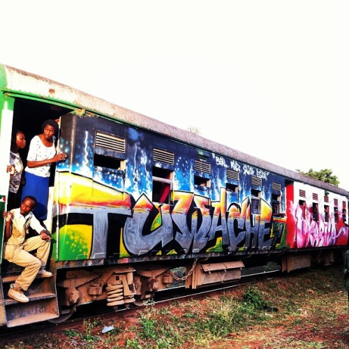 Nairobi train art! Kibera Walls for Peace youth arts project in collab with local graffiti artists.