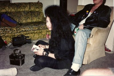 Wayback Machine time! Yes, I had enormous hair. And hey, proof I've had the purse I'm currently using since 1992-ish.  (Also, I want to go back in time, hug my younger self and gently tell her to eat a little more regularly, and that GOOD G-D no she's not overweight, no matter what dumb boys she was dating said. Grrrr.)