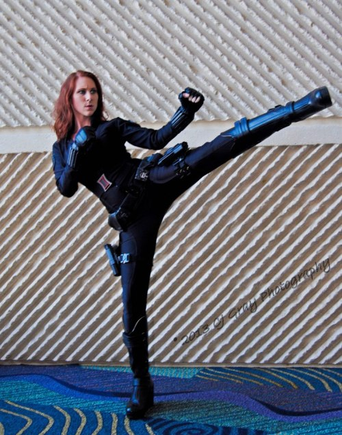 "ladyscostumes:   Black Widow | MegaCon 2013  It's a little blurry, but I just had to post this because I've really been working on getting my form back. This is the first ""kick pose"" I've done in the past two years that I'm satisfied with my form."