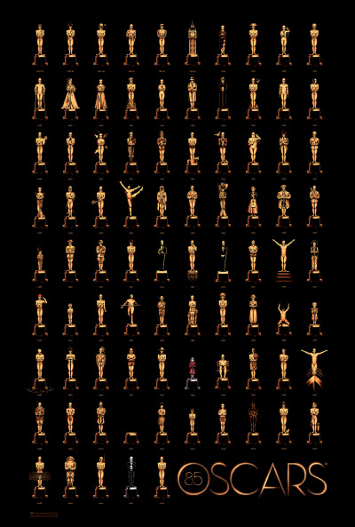 Amazing Oscar poster for Best Picture winners over the years.  ollymoss:  I worked with the Academy and Gallery 1988 to create the official 85 Years of Oscars poster.  Click here to see it in detail! The brief was one of the hardest I've ever had; find a way to reference every single Best Picture winner from the last 85 years.  Thanks to Gallery 1988 for putting my name forward and organising this whole shebang.