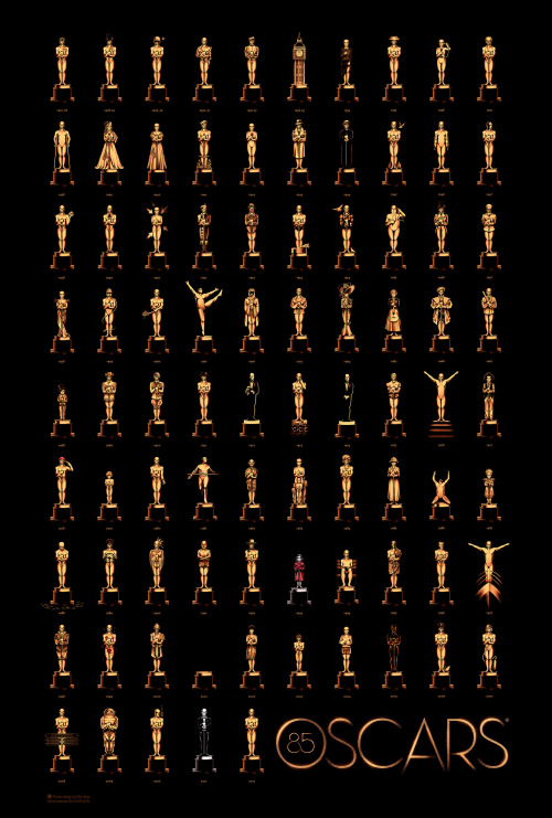 Just over a week until the Academy Awards. To get you in the mood, a poster of Oscar statuettes in the style of the Best Picture award winner from that year. So much fun.