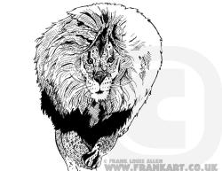 Here it is drawn this afternoon Ink Lion by Frank Louis Allen  All my stuff is for sale just ask