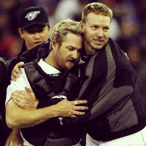 A rare show of emotion from Roy Halladay, with his catcher Gregg Zaun.  Courtesy of @joho31