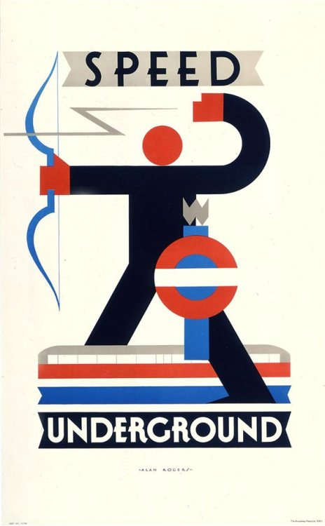 modernism-in-metroland:  Speed Underground Poster (1930) by Alan Rogers. London Transport used posters to advertise the tube in the interwar period using a wide range of artists to capture the excitement of tube travel. This one by Alan Rogers evokes the speed and accuracy of the new transport system, and was echoed by Eric Aumonier's statue at East Finchley station. Image from londontown.com