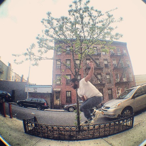 Chauncey came down to BK to sesh and hopefully get a c.o.w. before the rain hits #irollny #rollerblading #brooklyn #sunsetpark #blading #rolling #skating #instablading #bladergram #fisheye