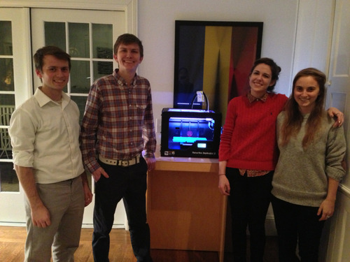 RISD Government Relations and STEAM Club students are demo-ing 3d-printing technology at a faculty gathering this evening. Thank you Carly Ayres, Sarah Pease, Ryan Murphy, and Ryan Mather! -JM