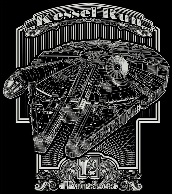 nudityandnerdery:  pacalin:  Star Wars T-shirts Rogue Leader and Kessel Run t-shirts for $25.97 @RedBubble Vote for Kessel Run at Qwertee! Created by Buzatron