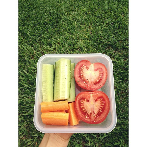 cleanbodyfreshstart:  snacks on snack on snacks {cucumber, carrot, tomato with pepper} #vegan