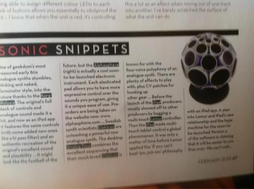 AlphaSphere in Mixmag Magazine.