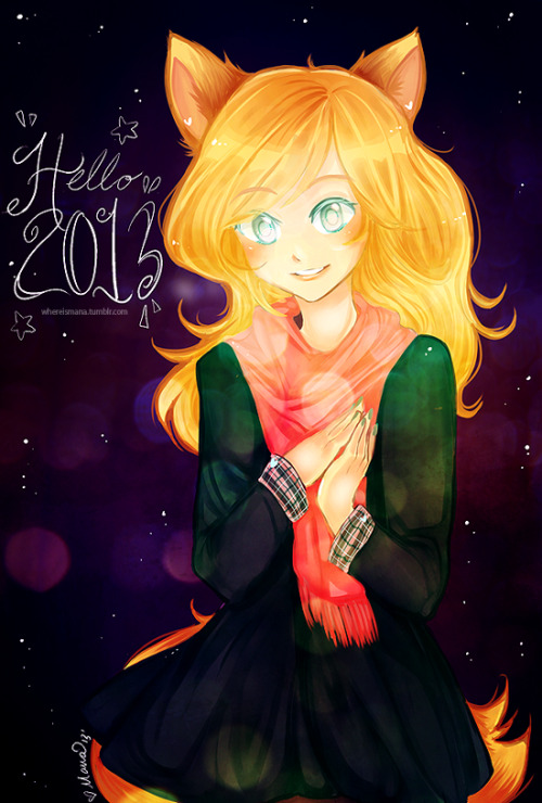 "It's the new year!!! And I'm feeling like its going to be a good year ""ヽ(´▽`)ノ"" I have some new years resolutions that I hope to reach! Here's Vexa wishing you all a happy 2013 <3  I hope you all have things to look forward to this year!"