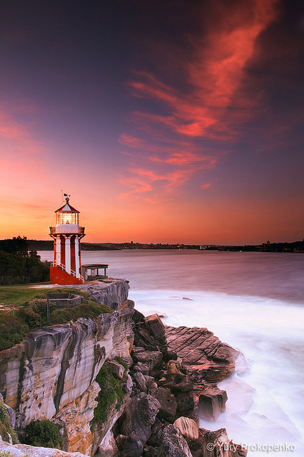 mohnicah:  Hornby Lighthouse at Sunset by -yury- on Flickr.