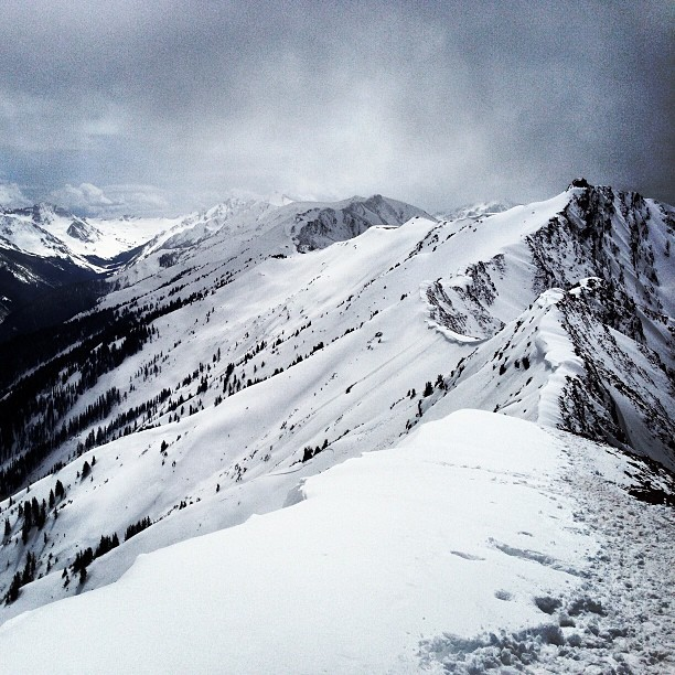 aspensnowmass:  Another amazing stormy view from the back of he Highland Bowl.