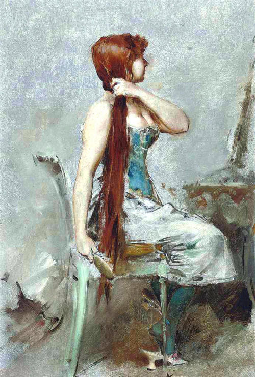 Red-Haired Girl at Her Toilet - Frederik Hendrik Kaemmerer