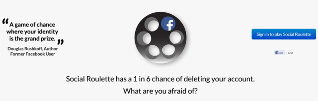 laughingsquid:  Social Roulette, A Game With a One in Six Chance of Deleting Your Facebook Account