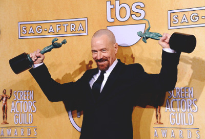 Bryan Cranston, winner of Outstanding Performance by a Male Actor in a Drama Series and Outstanding Performance by a Cast in a Motion Picture poses in the press room during the 19th Annual Screen Actors Guild Awards