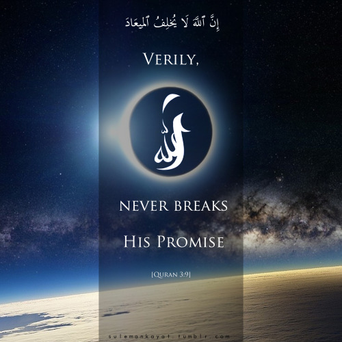 sulemankayat:  'Verily, Allah never breaks his promise' [Quran 3:9]