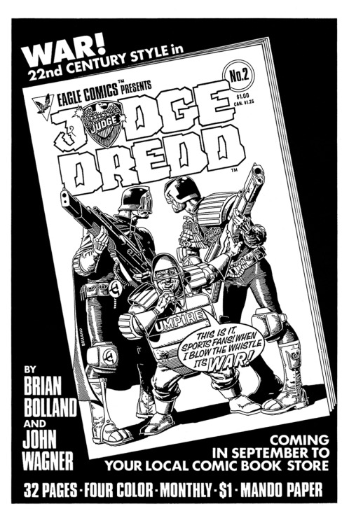 Promotional ad for Judge Dredd by John Wagner and Brian Bolland, 1983.