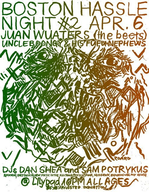 bostonhassle:  TOMORROW NIGHT (SAT. APRIL 6 2013).  JUAN WAUTERS (NYC, THE BEETS) UNCLE BOONGY AND HIS BUFU NEPHEWS @LILYPAD CAMBRIDGE MA