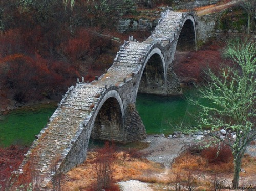 Ancient, Three Arches Bridge, Zagorochoria, Greece photo via nikki