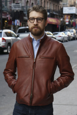 Epaulet Wyatt Motorcycle Jacket in Cognac Cowhide