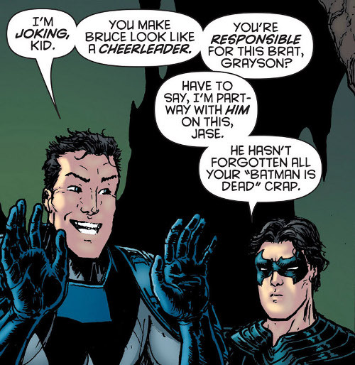 "discowing:  And Jason in the cave! Cracking up! Yay! Also Bruce said he'll be home for ""brunch"" hahahahah [Batman Inc 6]   Like you haven't lost your mind once in a while, Dick."