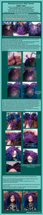 beansproutmomo:  WIG TUTORIAL PART TWO is finished!Hope this is helpful for people looking to create a wig with wool locks, or anything similar. Please let me know if you have any questions!Here is the link to this tutorial on my Deviant Art page: link There you can view it full size, and read the text better. ♥  Here is the second part of my tutorial!