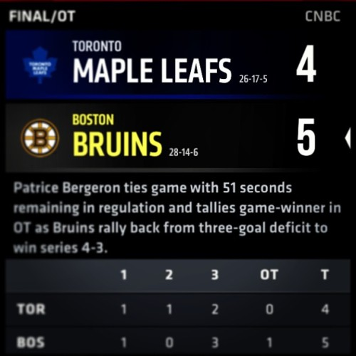 #bostonbruins doing work on the maple Leafs #bostonstrong