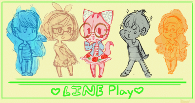 LINEPlay IRL friends doodle From left to right- Pompousdouche, Mysteryflavour, Me(Bananniebutt), Lexcellence, and a rebeccers but she doesn't have a tumblr that I know of??
