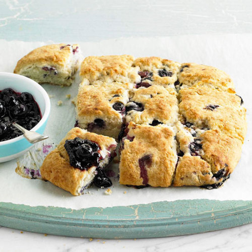 Blueberry-Cream Biscuits: We challenge you to try just one of these fluffy, fruit-filled biscuits.