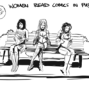Women Read Comics in Public