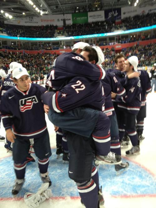 My favorite photo from this morning from @USAHockey, Tyler Biggs & Rocco Grimaldi    Congrats boys, so proud! U-S-A!