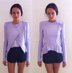 silverest:  thebeautebuzz:  Seriously - how amazing is this Dion Lee jacket!  it looks so nice on her!