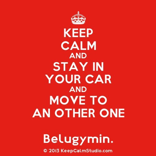 "papirnyuszi:  via FB  ""keep calm and stay in your car and move to an other one - belugymin"""