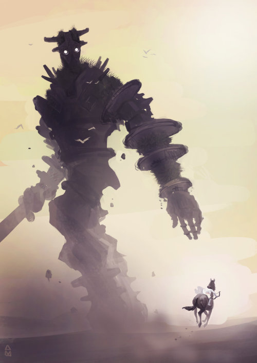 "stuggs:  geeksngamers:  Shadow of the Colossus - by Aiden May  I'm not gonna lie. This one had me fucking confused. Then I was like, ""OH. I JUST JUMP ON THAT SWORD MADE OUT OF FUCKING STONE."""