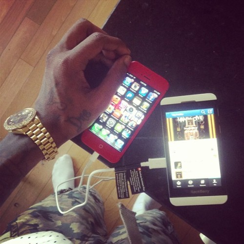 souljaboytellem:  My two fav phones. Red iPhone 5 and white blackberry z10