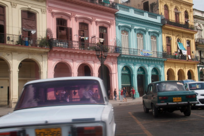 Sorbet coloured buildings in Cuba.