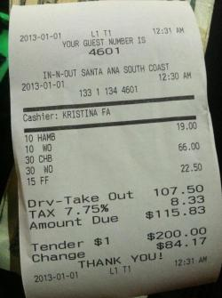 omiedahomie:  I don't think my friend ordered enough food at In N Out.  Never enough.