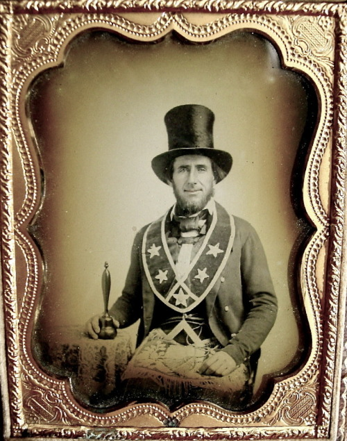 ca. 1850-60's, [ambrotype portrait of a Freemason with a slight smile, wearing his Masonic regalia] via Ebay