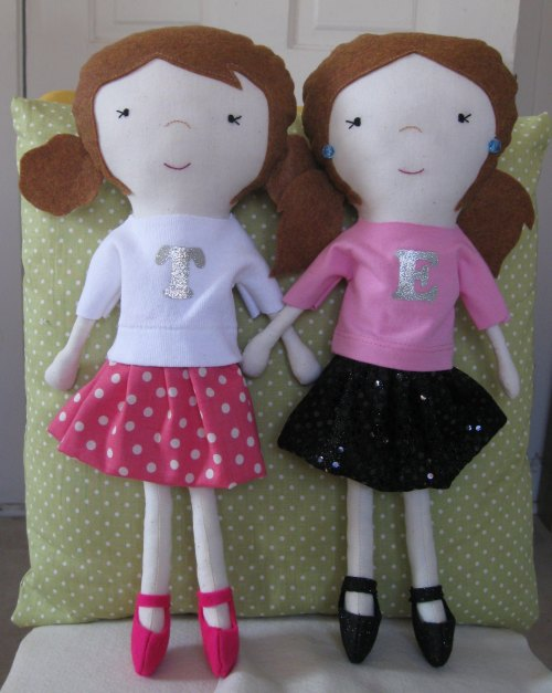 Birthday dolls that I made for my nieces Tessa & Ella