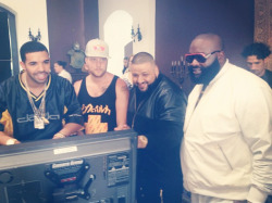 "DJ Khaled, Drake, Rick Ross, and Colin Tilley on set of the ""No New Friends"" video shoot - http://www.youngmoneyhq.com"