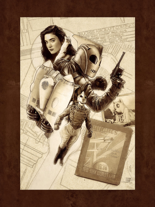 xombiedirge:  The Rocketeer by Paul Shipper / Store / Tumblr / Twitter / Facebook Part of the Righteous Rides…and The Dudes Who Drive Them art show at the Hero Complex Gallery / Facebook. Full info HERE.  I love this movie