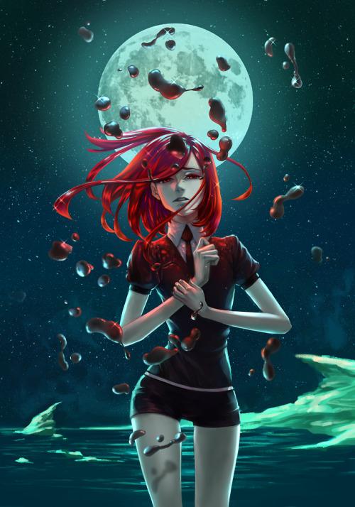 cinnabar houseki no kuni shinsha manga anime fanart mercury anime girl red hair pretty digital art illustration starry night moon tsukijin